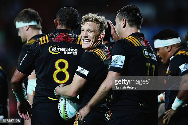Damian McKenzie of the Chiefs celebrates after winning the round five Super Rugby match between the Chiefs and the Western Force at FMG Stadium on...