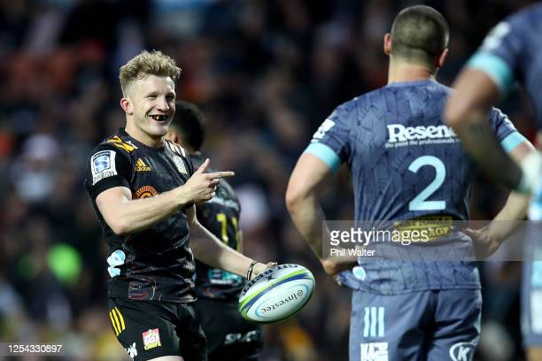 Damian McKenzie of the Chiefs during the round 4 Super Rugby Aotearoa match between the Chiefs and the Hurricanes at FMG Stadium Waikato on July 05,...
