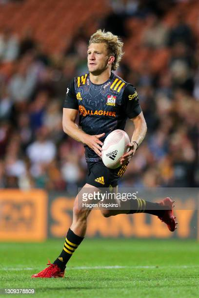 Damian McKenzie of the Chiefs in action during the round 5 Super Rugby Aotearoa match between the Chiefs and the Blues at FMG Stadium Waikato, on...