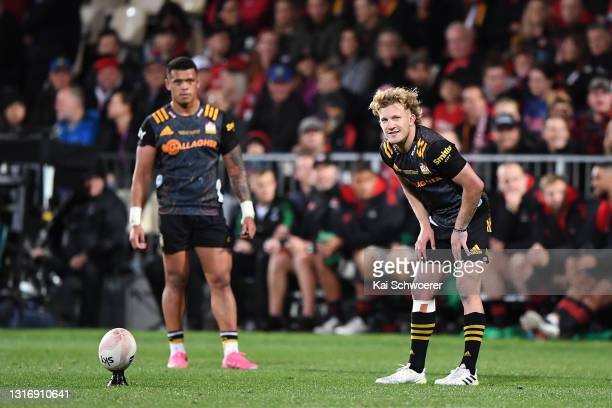 Damian McKenzie of the Chiefs kicks during the Super Rugby Aotearoa Final match between the Crusaders and the Chiefs at Orangetheory Stadium, on May...