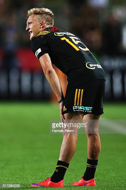 Damian McKenzie of the Chiefs lines up a conversion during the round five Super Rugby match between the Chiefs and the Western Force at FMG Stadium...