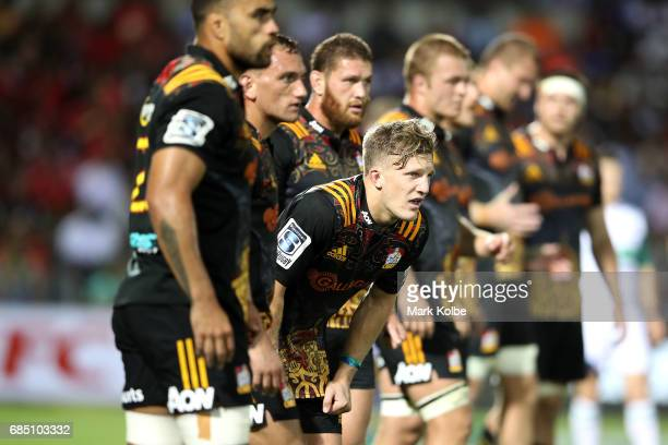 Damian McKenzie of the Chiefs looks dejected after a Crusaders try during the round 13 Super Rugby match between the Chiefs and the Crusaders at ANZ...