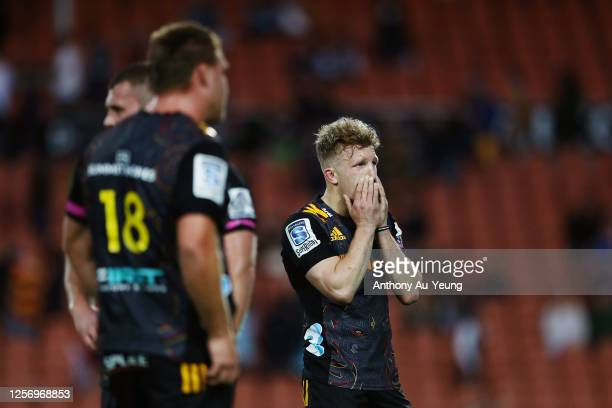 Damian McKenzie of the Chiefs looks on after losing the round 6 Super Rugby Aotearoa match between the Chiefs and the Highlanders at FMG Stadium...