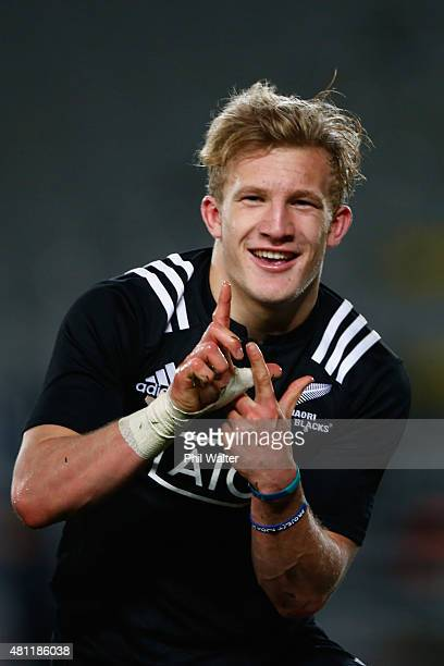 Damian McKenzie of the Maori All Blacks celebratres his try during the match between the New Zealand Maori All Blacks and the New Zealand Barbarians...