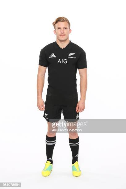 Damian McKenzie poses during a New Zealand All Blacks headshots session on May 21 2018 in Auckland New Zealand
