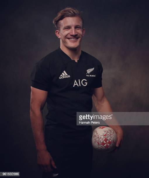 Damian McKenzie poses during a New Zealand All Blacks portraits session on May 21 2018 in Auckland New Zealand