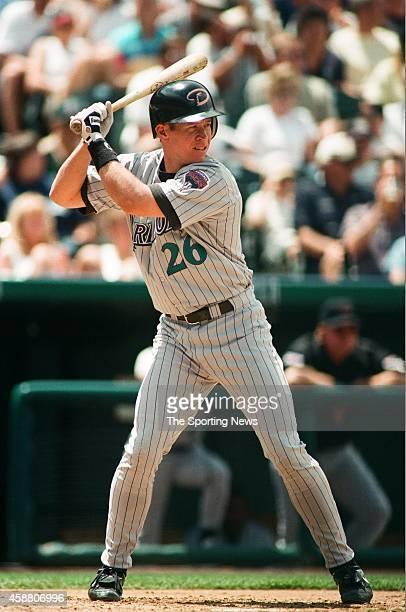 Damian Miller of the Arizona Diamondbacks bats against the Colorado Rockies at Coors Field on May 22 1999 in Denver Colorado