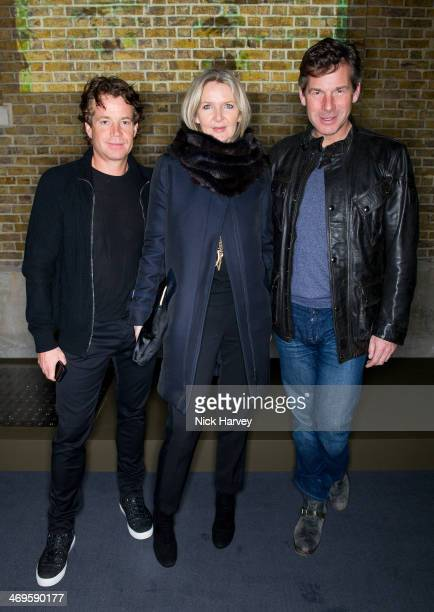 Damian Mould Amanda Wakeley and Hugh Morrison attend the Belstaff presentation at London Fashion Week AW14 at The Serpentine Sackler Gallery on...