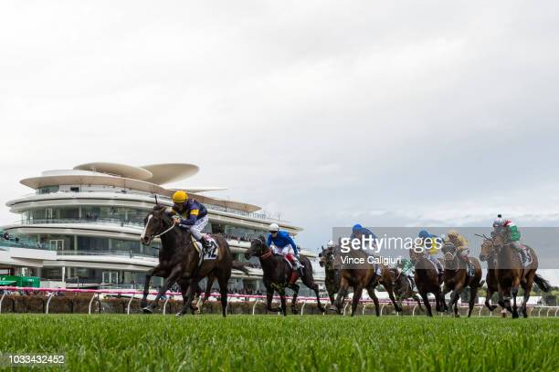 Damian Oliver riding Grunt winning Race 7 Makybe Diva Stakes during Melbourne racing at Flemington Racecourse on September 15 2018 in Melbourne...