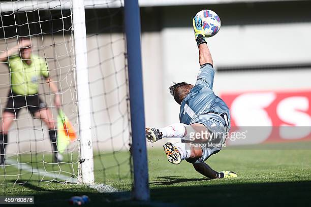 Damian Prascarelli goalkeeper of Nublense in action during a match between Nublense and Universidad de Chile as part of 16 round of Torneo Apertura...