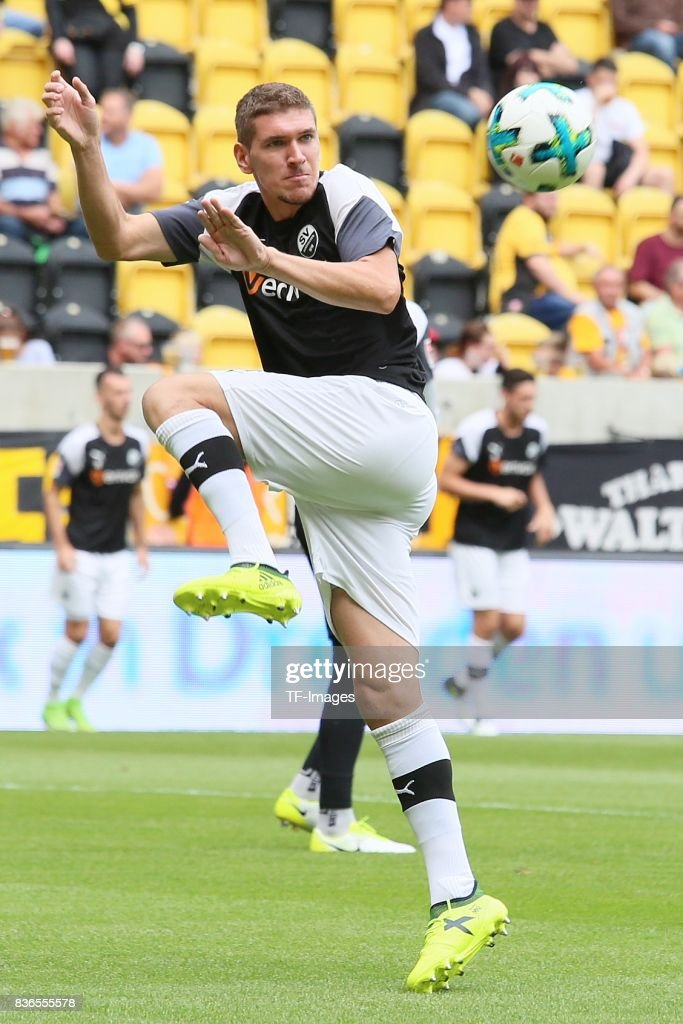 Damian Roßbach of Sandhausen in action during the Second Bundesliga match between Dynamo Dresden and SV Sandhausen at DDV-Stadion on August 19, 2017 in Dresden, Germany.