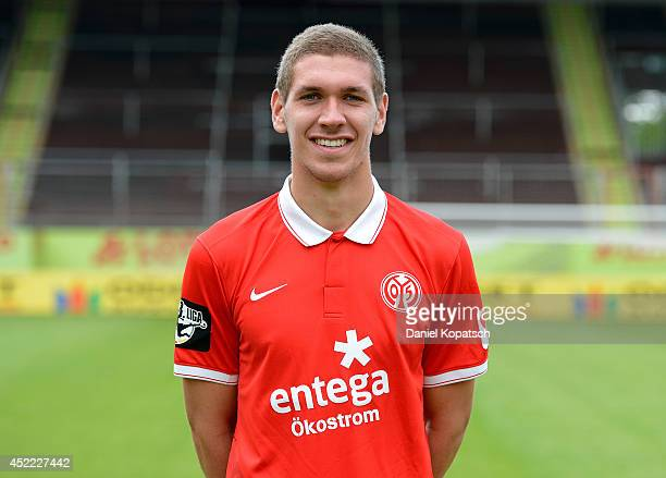 Damian Rossbach poses during the team presentation of 1 FSV Mainz 05 II at Bruchwegstadion on July 16 2014 in Mainz Germany