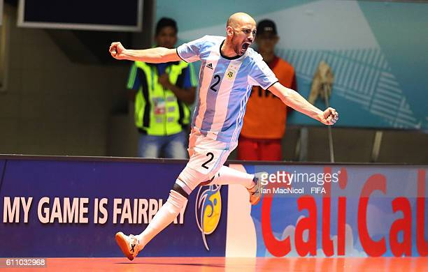 Damian Sarmiento of Argentina celebrates scoring his teams second goal during the FIFA Futsal World Cup Semi Final match between Argentina and...