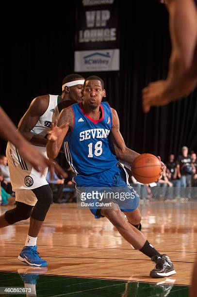 Damian Saunders of the Delaware 87ers drives to the basket against the Reno Bighorns during the 2014 NBA DLeague Showcase presented by Samsung Galaxy...