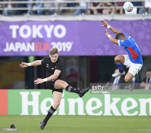 Damian Stevens of Namibia charges down a conversion attempt by Jordie Barrett of New Zealand during the first half of a Rugby World Cup Pool B match...