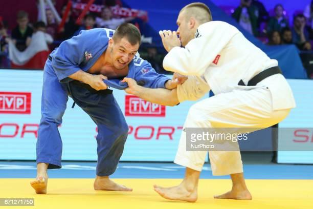 Damian Szwarnowiecki Bojan Dosen fight during the 2017 Warsaw European Judo Championships at the Torwar Arena Warsaw Poland