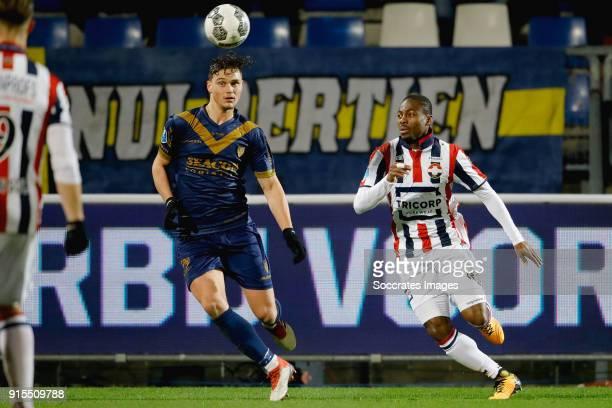 Damian van Bruggen of VVV Venlo Eyong Enoh of Willem II during the Dutch Eredivisie match between Willem II v VVVVenlo at the Koning Willem II...
