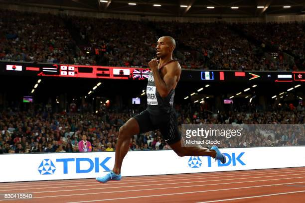 Damian Warner of Canada competes during the Men's Decathlon 400 metres during day eight of the 16th IAAF World Athletics Championships London 2017 at...