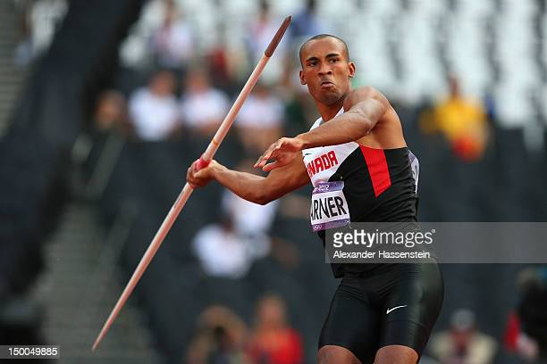 Damian Warner of Canada competes during the Men's Decathlon Javelin Throw on Day 13 of the London 2012 Olympic Games at Olympic Stadium on August 9...