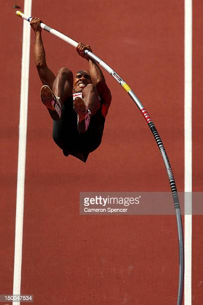 Damian Warner of Canada competes during the Men's Decathlon Pole Vault on Day 13 of the London 2012 Olympic Games at Olympic Stadium on August 9 2012...