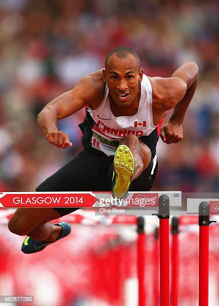Damian Warner of Canada competes in the Men's Decathlon 110 metre hurdles at Hampden Park during day six of the Glasgow 2014 Commonwealth Games on...