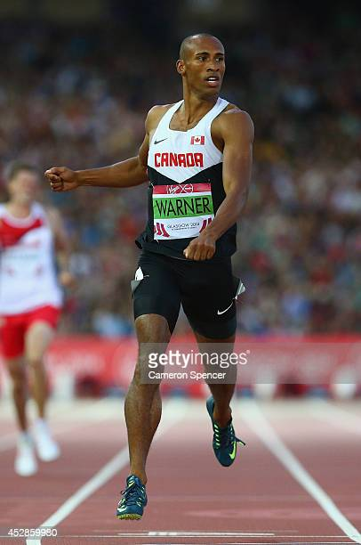 Damian Warner of Canada competes in the Men's Decathlon 400 metres at Hampden Park during day five of the Glasgow 2014 Commonwealth Games on July 28...