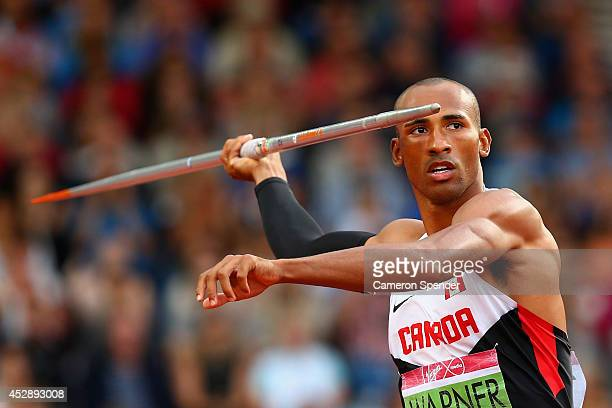 Damian Warner of Canada competes in the Men's Decathlon Javelin at Hampden Park during day six of the Glasgow 2014 Commonwealth Games on July 29 2014...