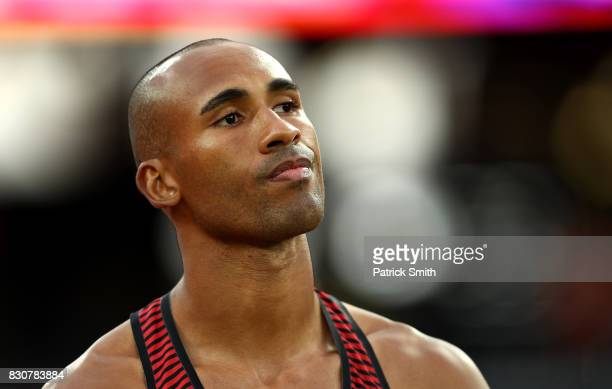 Damian Warner of Canada competes in the Men's Decathlon Javelin during day nine of the 16th IAAF World Athletics Championships London 2017 at The...