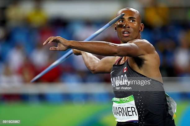 Damian Warner of Canada competes in the Men's Decathlon Javelin Throw on Day 13 of the Rio 2016 Olympic Games at the Olympic Stadium on August 18...