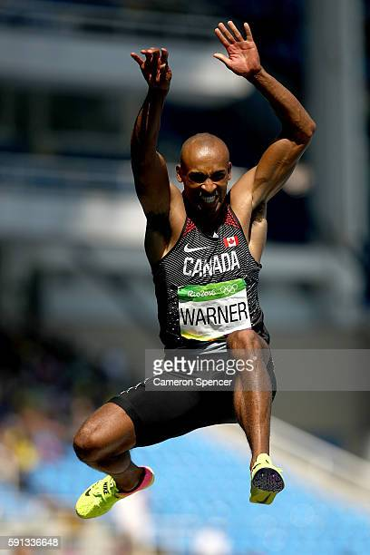 Damian Warner of Canada competes in the Men's Decathlon Long Jump on Day 12 of the Rio 2016 Olympic Games at the Olympic Stadium on August 17 2016 in...