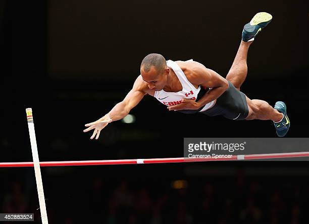 Damian Warner of Canada competes in the Men's Decathlon Pole Vault at Hampden Park during day six of the Glasgow 2014 Commonwealth Games on July 29...
