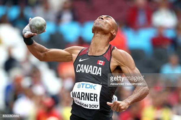 Damian Warner of Canada competes in the Men's Decathlon Shot Put during day eight of the 16th IAAF World Athletics Championships London 2017 at The...