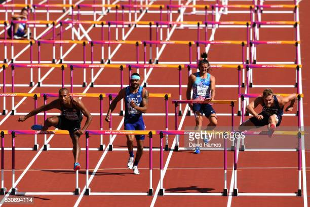 Damian Warner of Canada Devon Williams of the United States authorized neutral athlete Ilya Shkurenev and Kevin Mayer of France compete in the Men's...