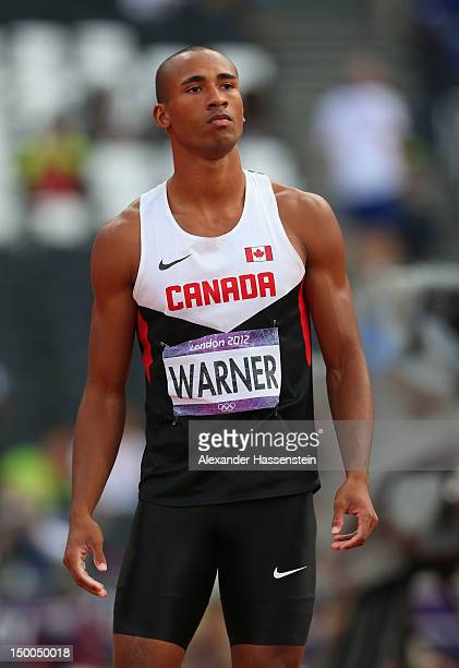 Damian Warner of Canada looks on after competing in the Men's Decathlon Javelin Throw on Day 13 of the London 2012 Olympic Games at Olympic Stadium...