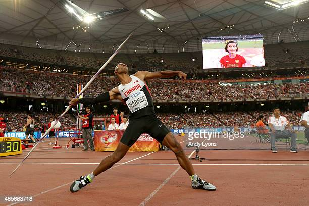 Damian Warner of Canada ompetes in the Men's Decathlon Javelin during day eight of the 15th IAAF World Athletics Championships Beijing 2015 at...