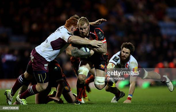 Damian Welch of Exeter is tackled by Steven Kitshoff of Bordeaux-Begles during the European Rugby Champions Cup match between Exeter Chiefs and...