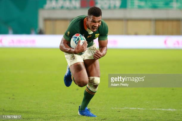 Damian Willemse of South Africa celebrates on his way to scoring his team's ninth try during the Rugby World Cup 2019 Group B game between South...