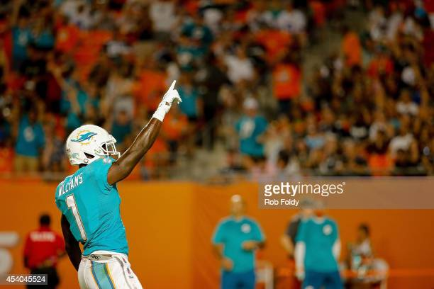 Damian Williams of the Miami Dolphins reacts after a play during the game against the Dallas Cowboys at Sun Life Stadium on August 23 2014 in Miami...