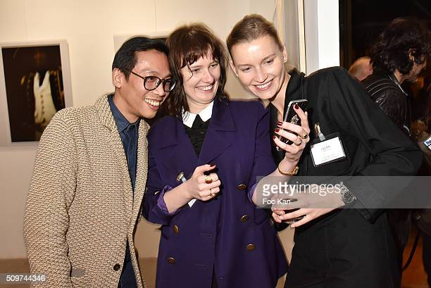Damian Yee Anna Pahlavi and Laura from Earth Gallery attend 'Ghosts Of Glory' by Guilhem de Castelbajac Exhibition Preview At Earth Gallery on...