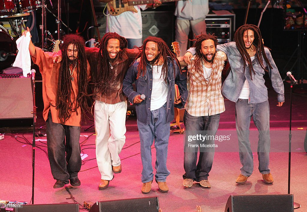Damian, Ziggy, Stephen, Kymani and Julian Marley, sons of Bob Marley, perform onstage at the 'Roots, Rock, Reggae Tour 2004' at the Filene Center August 8, 2004 in Vienna, Virginia