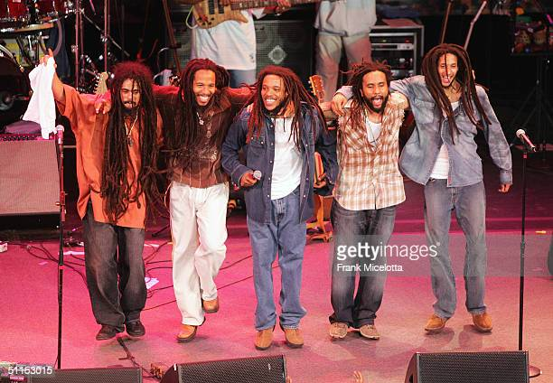 """Damian, Ziggy, Stephen, Kymani and Julian Marley, sons of Bob Marley, perform onstage at the """"Roots, Rock, Reggae Tour 2004"""" at the Filene Center..."""