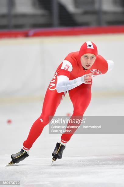 Damian Zurek of Poland performs during the Men 1500 Meter at the ISU ISU Junior World Cup Speed Skating at Max Aicher Arena on November 26 2017 in...