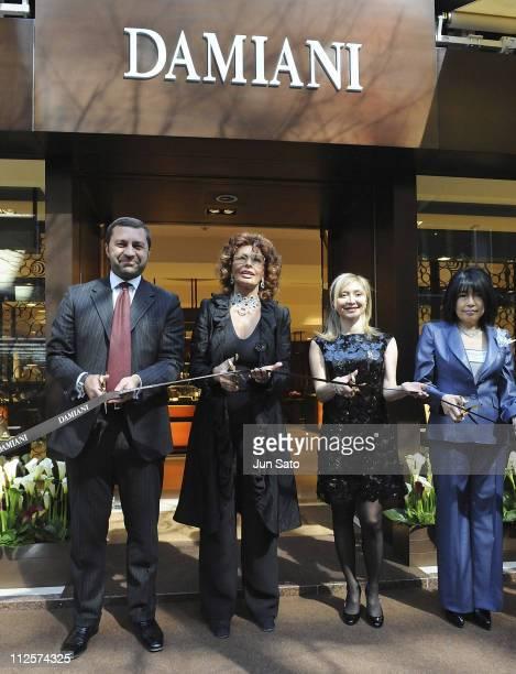 Damiani Group Vice President Giorgio Damiani Actress Sophia Loren Silvia Damiani and Damiani Japan CEO Asayo Zuber attend opening ceremony of Damiani...