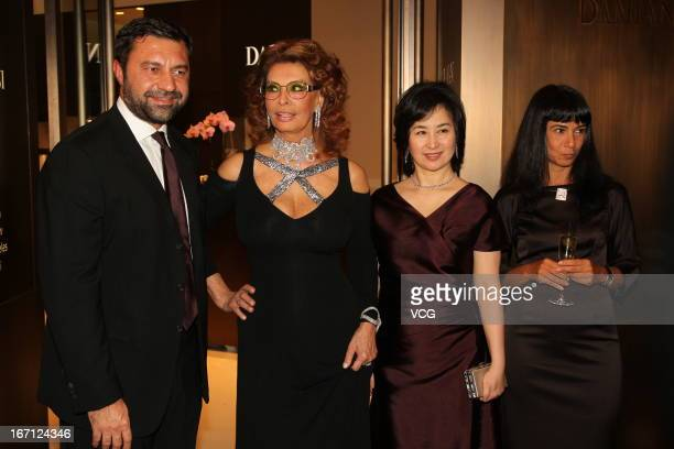 Damiani Group VicePresident Giorgio Damiani Italian actress Sophia Loren Pansy Ho and Ms Alessandra Schiavo Consul General of Italy attend Damiani...