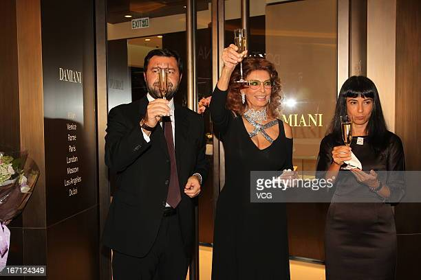 Damiani Group VicePresident Giorgio Damiani Italian actress Sophia Loren and Ms Alessandra Schiavo Consul General of Italy attend Damiani flagship...