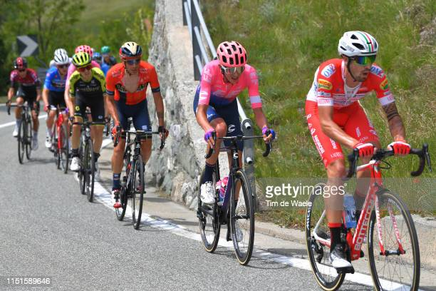 Damiano Caruso of Italy and Team Bahrain Merida / Joseph Lloyd Dombrowski of The United States and Team EF Education First / Mattia Cattaneo of Italy...