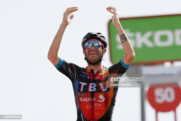 Damiano Caruso of Italy and Team Bahrain Victorious celebrates winning during the 76th Tour of Spain 2021, Stage 9 a 188 km stage from Puerto...