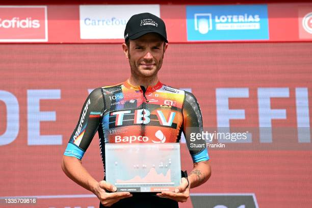 Damiano Caruso of Italy and Team Bahrain Victorious celebrates winning the stage on the podium ceremony after the 76th Tour of Spain 2021, Stage 9 a...
