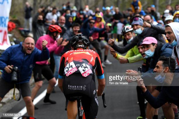 Damiano Caruso of Italy and Team Bahrain Victorious in breakaway passing through Valle Spluga - Alpe Motta mountain during the 104th Giro d'Italia...