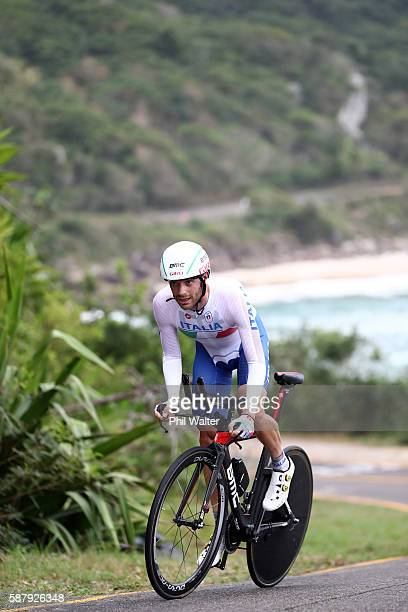 Damiano Caruso of Italy competes in the Cycling Road Men's Individual Time Trial on Day 5 of the Rio 2016 Olympic Games at Pontal on August 10, 2016...